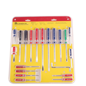 20 Pc Pcv Handle Or Transparent Handle Screwdriver Set With Blister Pack